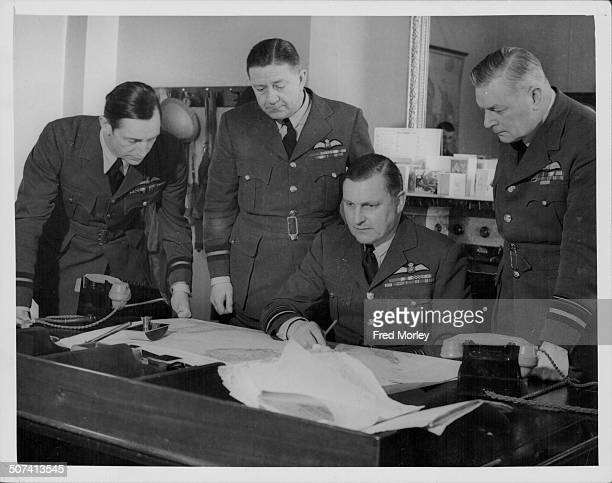 Air Commodore Elliot Air Commodore Cunningham Air Force Marshal William Sholto Douglas and Air Force CommanderinChief Nicholl at headquarters January...