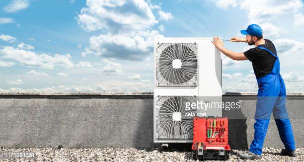 air conditioner equipment installing - multi split air conditioner system - ventilator stock pictures, royalty-free photos & images