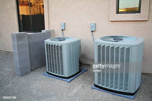 air conditioner pair - central scotland stock pictures, royalty-free photos & images