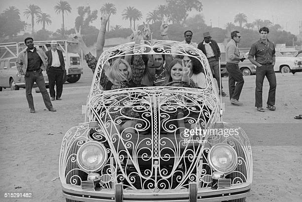 Air conditioning is no problem with this rather unusual model of Volkswagen The entire body is made out of white wrought iron The kids testdriving it...