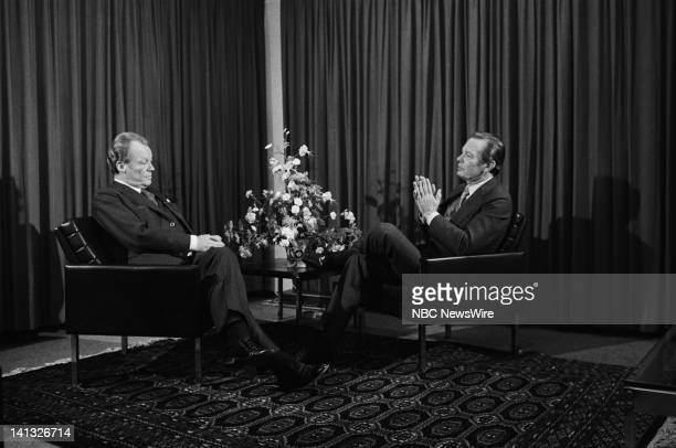 Air Date -- Pictured: Leader of the SPD Willy Brandt, NBC News' David Brinkley in West Germany during an NBC News Special that discusses the growth...