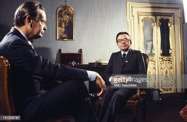 Air Date -- Pictured: NBC News' David Brinkley, Italian Prime Minister Giulio Andreotti in Rome, Italy during an NBC News Special that discusses the...