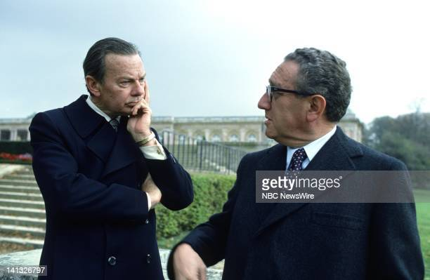 Air Date -- Pictured: NBC News' David Brinkley, U.S. Secretary of State Henry Kissinger, during an NBC News Special that discusses the growth of...