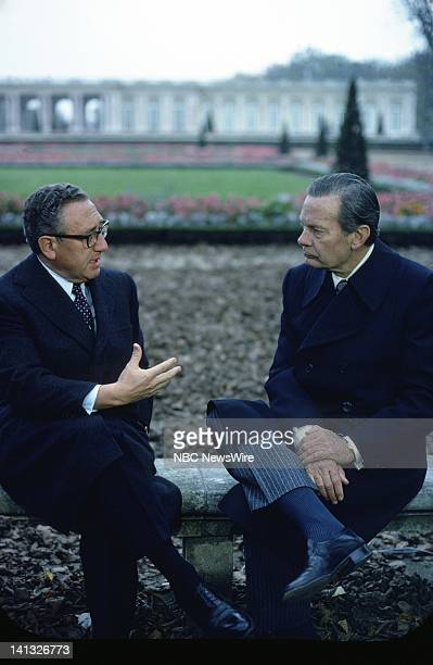 RECORD Air Date Pictured US Secretary of State Henry Kissinger NBC News' David Brinkley during an NBC News Special that discusses the growth of...