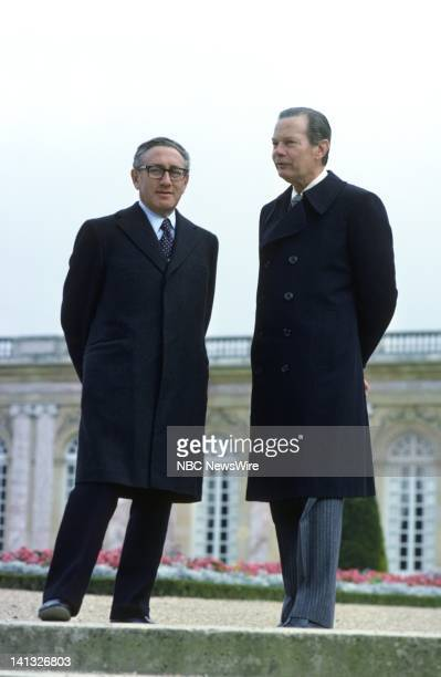 RECORD Air Date Pictured US Secretary of State Henry Kissinger NBC News' David Brinkley at Versailles France during an NBC News Special that...