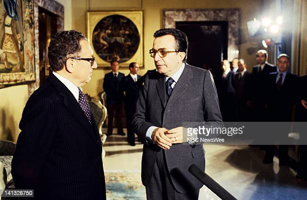 RECORD Air Date Pictured US Secretary of State Henry Kissinger Italian Prime Minister Giulio Andreotti in Rome Italy during an NBC News Special that...
