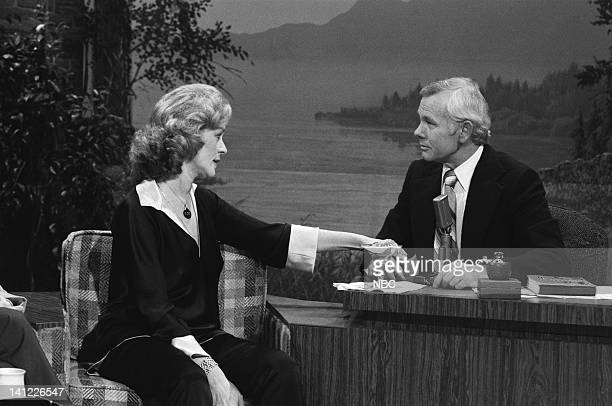 CARSON Air Date Pictured Actress Lauren Bacall host Johnny Carson Photo by Frank Carroll/NBCU Photo Bank