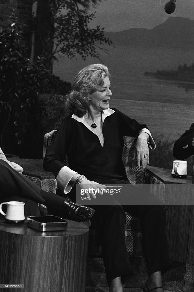 CARSON -- Air Date -- Pictured: (l-r) Actress Lauren Bacall, host Johnny Carson -- Photo by: Frank Carroll/NBCU Photo Bank