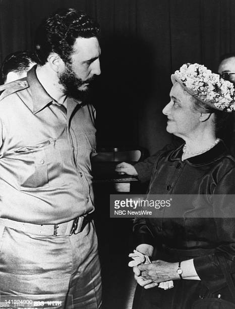 Prime Minister of Cuba Fidel Castro panelist May Craig after Castro's first American television appearance as Premier on NBC News' Meet The Press on...