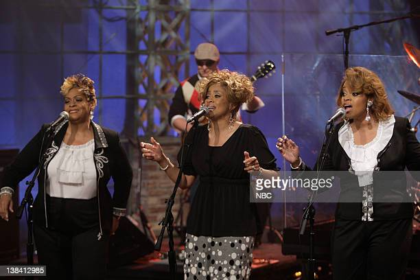 LENO Air Date Episode 3757 Pictured Musical guests The Clark Sisters perform on May 5 2009