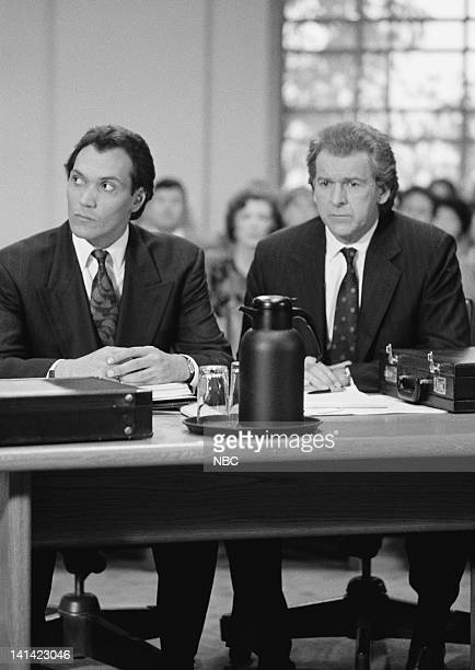 LA LAW Air Date The Last Gasp Episode 22 Pictured Jimmy Smits as Victor Sifuentes and actor Peter Riegert Photo by Alice S Hall/NBCU Photo Bank