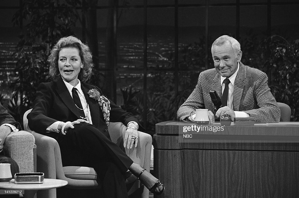 CARSON -- Air Date -- Pictured: (l-r) Actress Lauren Bacall, host Johnny Carson -- Photo by: Ron Tom/NBCU Photo Bank