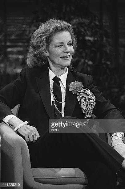 Air Date -- Pictured: Actress Lauren Bacall, host Johnny Carson -- Photo by: Ron Tom/NBCU Photo Bank