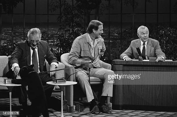 CARSON Air Date Pictured Announcer Ed McMahon Zoologist Jim Fowler host Johnny Carson with a baby black bear Photo by Ron Tom/NBCU Photo Bank