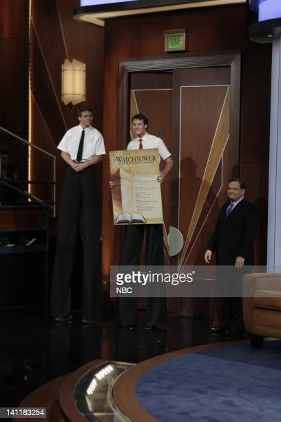 BRIEN Air Date Episode 18 Pictured 2 men on stilts as tall Jehovah's Witnesses with cohost Andy Richter diring a skit on June 24 2009 Photo by Paul...