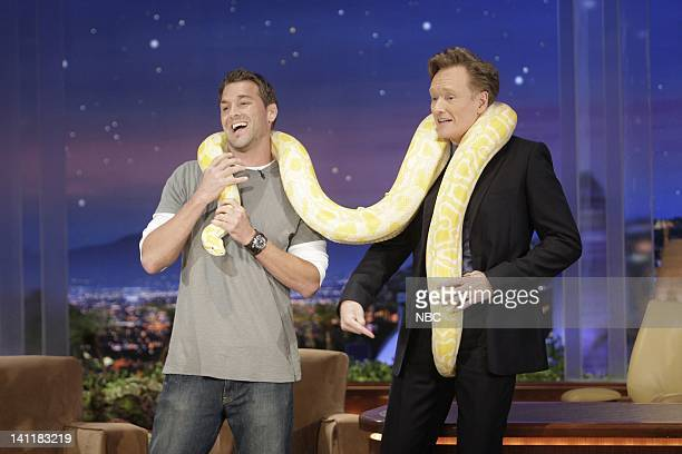 Air Date -- Episode 18 -- Pictured: Animal trainer Brandon McMillan brings a Burmese python to show host Conan O'Brien on June 24, 2009 -- Photo by:...