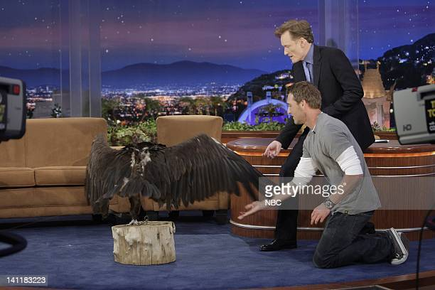 Air Date -- Episode 18 -- Pictured: Animal trainer Brandon McMillan brings a vulture to show host Conan O'Brien on June 24, 2009 -- Photo by: Paul...