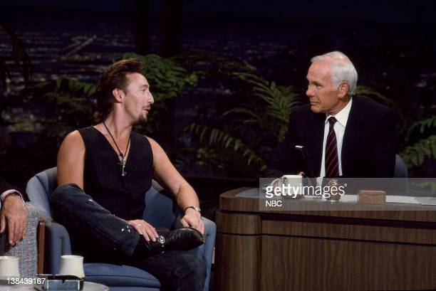 CARSON Air Date Pictured Singer Julian Lennon during an interview with host Johnny Carson on August 16 1989