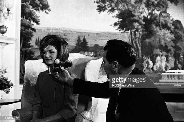 KENNEDY Air Date Pictured First Lady Jacqueline Kennedy unknown crew member discussing plans for the new National Culture Center in the Diplomatic...