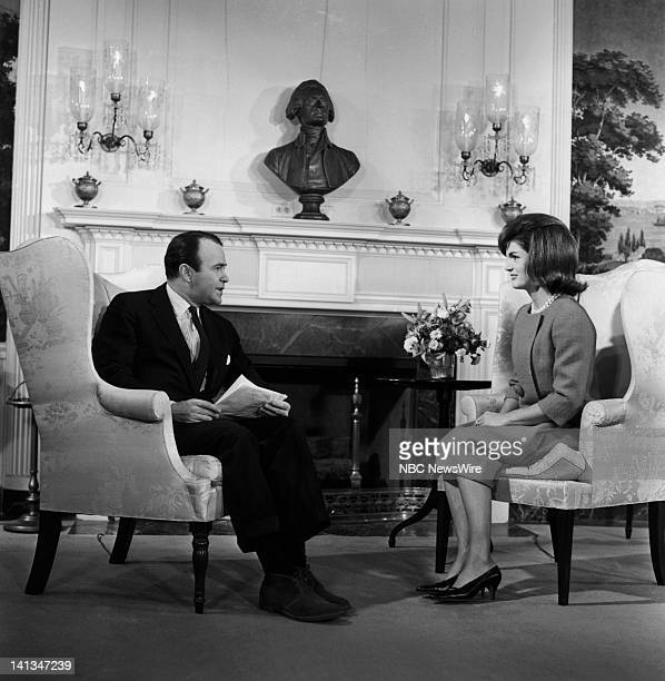 KENNEDY Air Date Pictured NBC News' Sander Vanocur First Lady Jacqueline Kennedy discussing plans for the new National Culture Center in the...