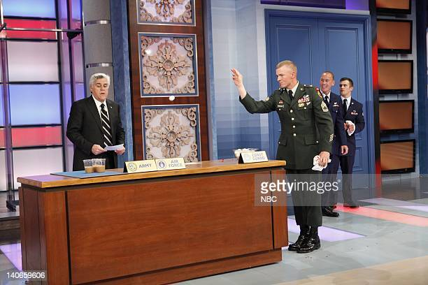 SHOW Air Date Episode 54 Pictured Host Jay Leno with members of the US Armed services compete for a new car on November 26 2009 Photo by Justin...