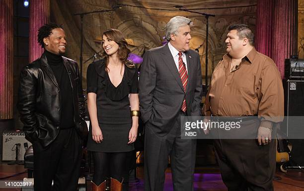"""Air Date 1/17/08 -- Episode 3478 -- Pictured: Comedian D. L. Hughley, musical guest Sara Bareilles, host Jay Leno and """"The Guy From Boston"""" Joe..."""