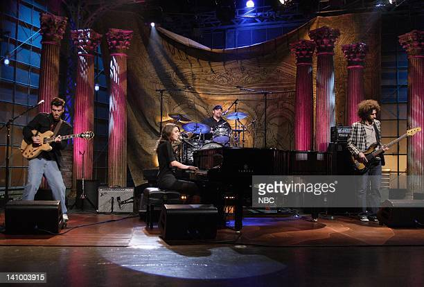 Air Date 1/17/08 -- Episode 3478 -- Pictured: Musical guest Sara Bareilles performs on January 17, 2008 -- Photo by: Margaret Norton/NBCU Photo Bank