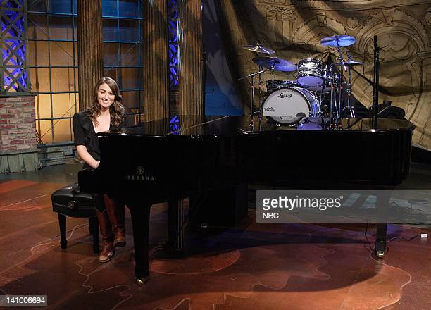 LENO Air Date 1/17/08 Episode 3478 Pictured Musical guest Sara Bareilles performs on January 17 2008 Photo by Margaret Norton/NBCU Photo Bank