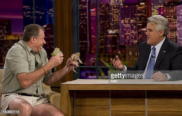 LENO Air Date 1/9/08 Episode 3472 Pictured Celebrity animal trainer Jules Sylvester shows host Jay Leno a Cane Toad and African Bullfrog on January 9...