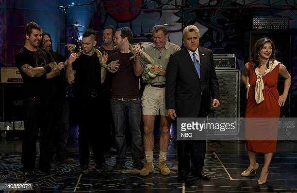 LENO Air Date 1/9/08 Episode 3472 Pictured Musical guest Finger Eleven celebrity animal trainer Jules Sylvester host Jay Leno and CNBC's Maria...