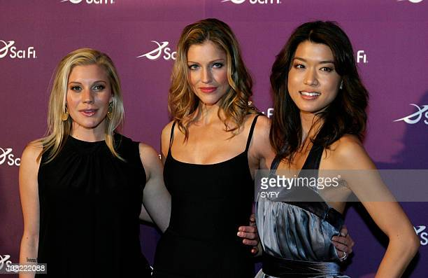 """Air Date 3/18/08 -- Pictured: """"Battlestar Galactica"""" actress Katee Sackhoff, Tricia Helfer, and Grace Park at the SCI FI Channel Upfronts on March..."""