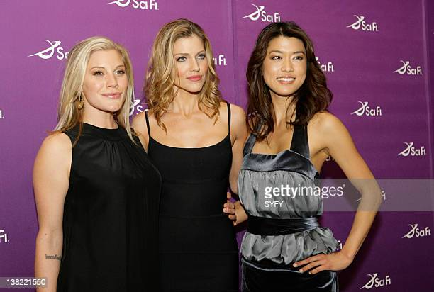 UPFRONT 2008 Air Date 3/18/08 Pictured Battlestar Galactica actresses Katee Sackhoff Tricia Helfer and Grace Park at the SCI FI Channel Upfronts on...