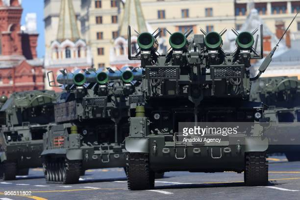 M2 air defense missile systems and TOPM2 all weather tactical air defense missile systems are seen during the Victory Day military parade marking the...