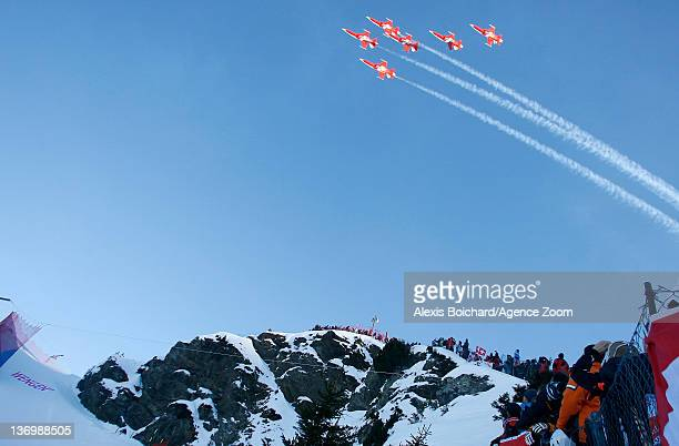 Air display during the Audi FIS Alpine Ski World Cup Men's Downhill on January 14 2012 in Wengen Switzerland
