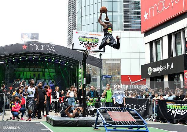 Air Elite perform at Macy's Herald Square for the Launch of TMNT X Melo on May 21 2016 in New York City