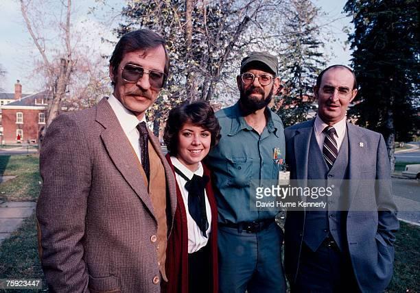 Air Florida Flight 90 crash survivors Joseph Stiley Patricia Felch Roger Olian and Bert Hamilton pose for a photo on November 15 1982 in Washington DC