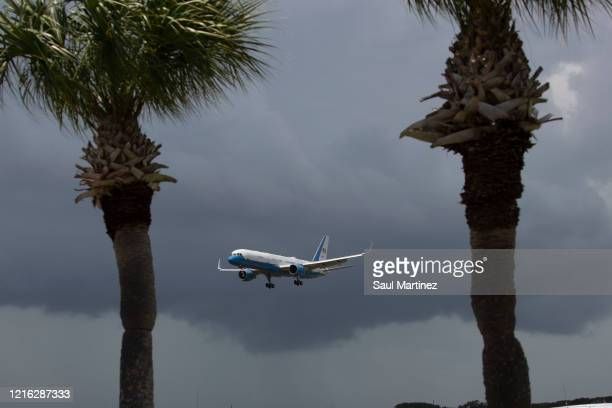 Air Force 2 with U.S. Vice President Mike Pence and his wife Karen Pence arriving at Cape Canaveral Air Force Station for the launch of the SpaceX...