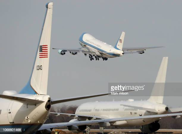 S Air Force 747 that is being called 'Special Mission 41' takes off carrying the casket of former US President George HW Bush on December 5 2018 in...