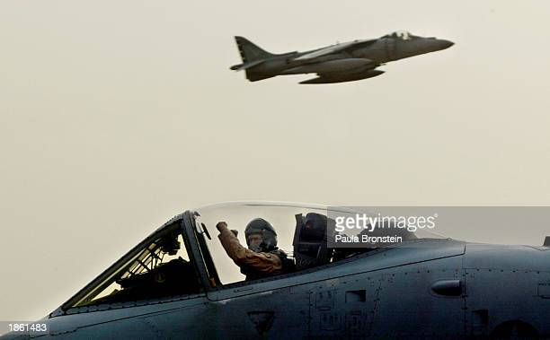 Air Force A-10 Flying Tigers pilot gives the victory sign before launching from an airbase March 21, 2003 in the Arabian Gulf as Operation Iraqi...
