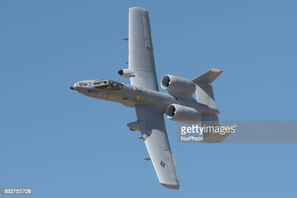 A US Air Force A10 ground attack jet flies during a public display at Luke Air Force Base near Phoenix Arizona on Saturday March 17 2018