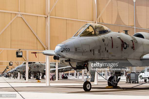 U.S. Air Force A-10 Thunderbolt II aircraft sit in the sun shelters at Davis-Monthan Air Force Base, Arizona.