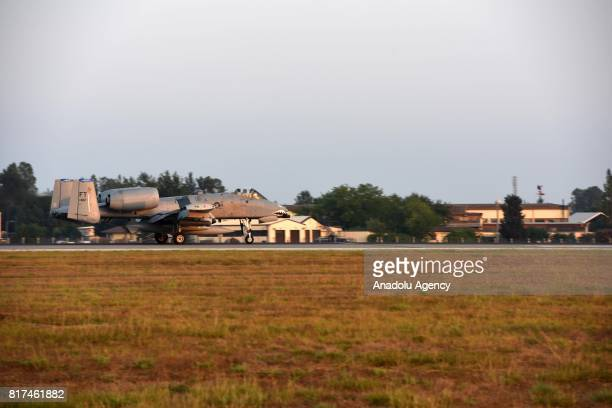A US Air Force A10 Thunderbolt II touches down at Incirlik 39th Air Base Wing in Adana Turkey on July 18 2017 Three A10 Thunderbolt IIs were...