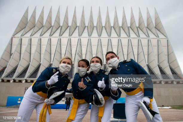 Air Force Academy cadets celebrate after their graduation ceremony on April 18 2020 in Colorado Springs Colorado Saturday's graduation which was...