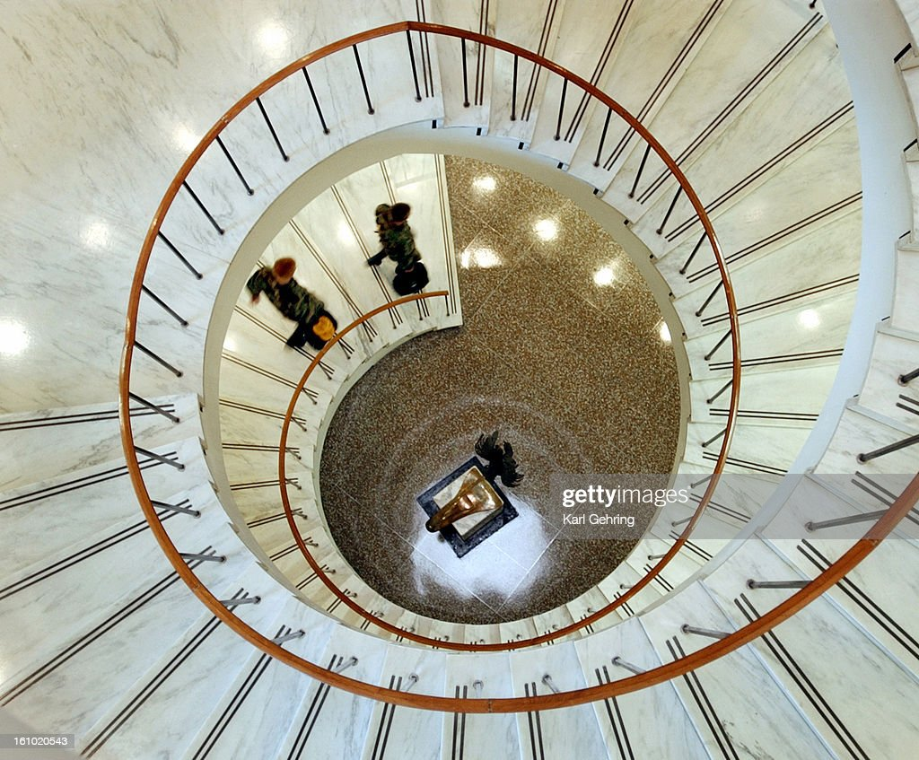 Wonderful Air Force Academy Cadets Walk Down The Spiral Staircase In The School  Library. Denver Post