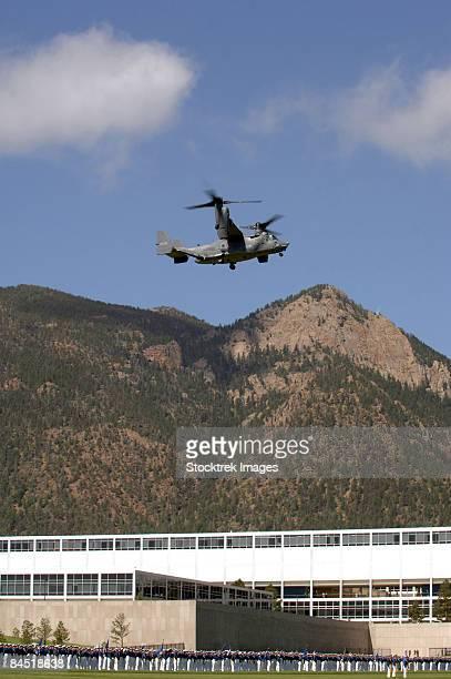 U.S Air Force Academy, Colorado -  A CV-22 Osprey flies over the 2007 Graduation Parade.