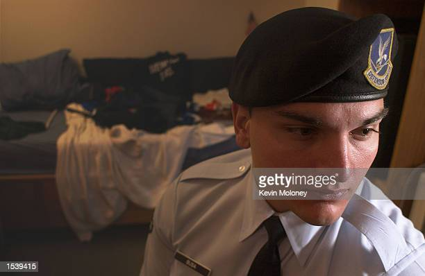S Air Force airman 1st Class Paul Busa sits in his dormitory April 5 2002 at Peterson Air Force Base in Colorado Springs CO Busa is forced to leave...