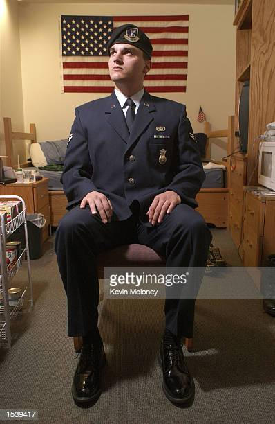 S Air Force airman 1st Class Paul Busa sits in his dormitory April 5 2002 at Peterson Air Force Base in Colorado Springs CO Busa is being forced to...