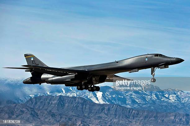A U.S. Air Force B-1B Lancer departs for a training mission.