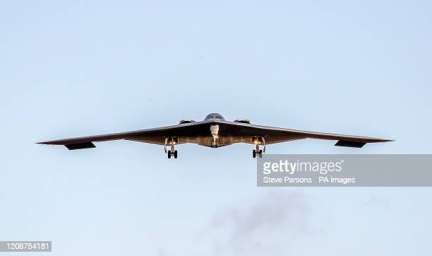 Air Force B-2 Spirit stealth bomber lands at RAF Fairford in Goucestershire.