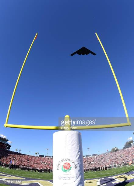 Air Force B2 Stealth Bomber flies over the stadium ahead of the Rose Bowl Game presented by Northwestern Mutual at the Rose Bowl on January 1 2019 in...